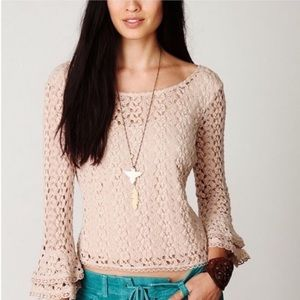 Free People Crocheted Crop Top Tiered Bell Sleeves